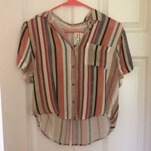 Striped Button Up Short Sleeve Vintage Island Look